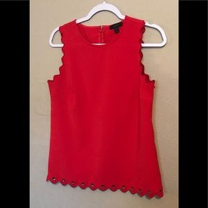 J.CREW RED TOP BLOUSE SLEEVELESS EMBROIDERY Sz 4